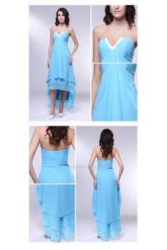 High Low Blue Chiffon Prom Evening Formal Dresses ED011003