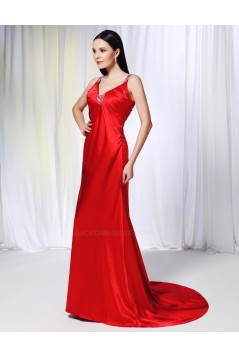A-Line Beaded Long Red Prom Evening Formal Dresses ED011004