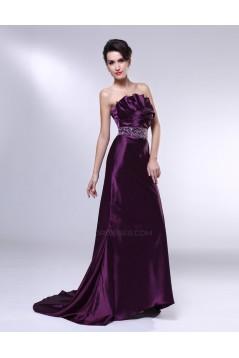 Trumpet/Mermaid Strapless Beaded Long Purple Prom Evening Formal Dresses ED011005
