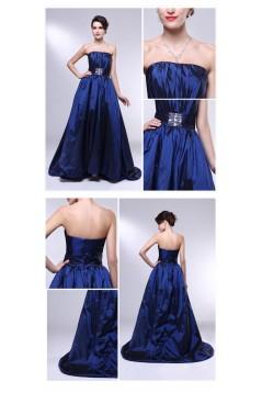 A-Line Strapless Beaded Blue Taffeta Prom Evening Formal Dresses ED011006