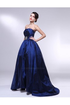 A-Line Strapless Beaded Blue Taffeta Prom Evening Formal Dresses ED011006