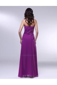 A-Line Strapless Beaded Long Purple Chiffon Prom Evening Formal Dresses ED011009