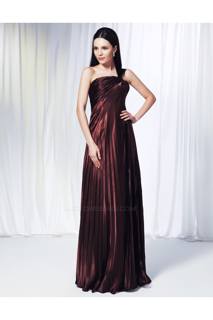 A-Line One-Shoulder Pleated Long Prom Evening Formal Dresses ED011011