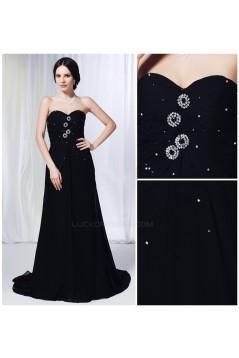 A-Line Sweetheart Beaded Long Black Chiffon Prom Evening Formal Dresses ED011014