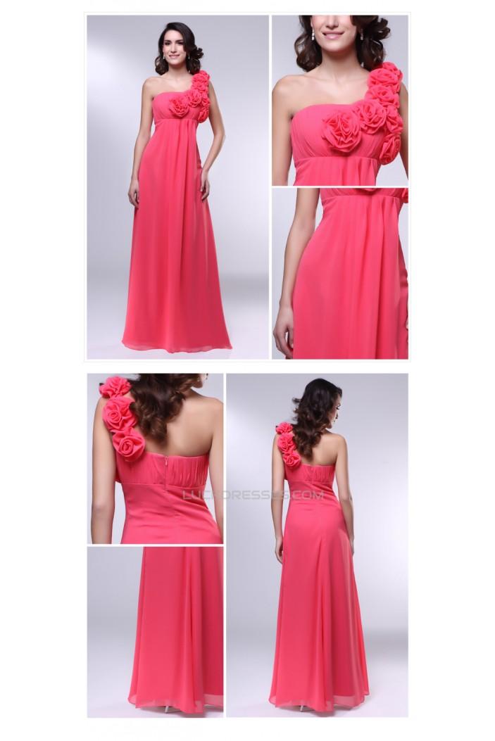 Empire One-Shoulder Long Chiffon Prom Evening Formal Dresses Maternity Dresses ED011016