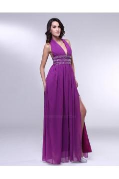A-Line Halter Beaded Split-Front Long Purple Chiffon Prom Evening Formal Dresses ED011017