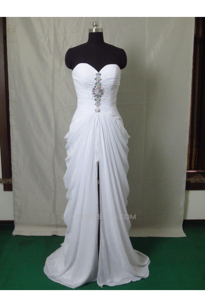 Modest Long White Prom Dresses Evening Party Gowns ED011020