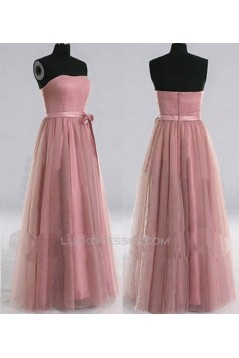 A-Line Strapless Tulle Long Prom Evening Formal Dresses ED011022