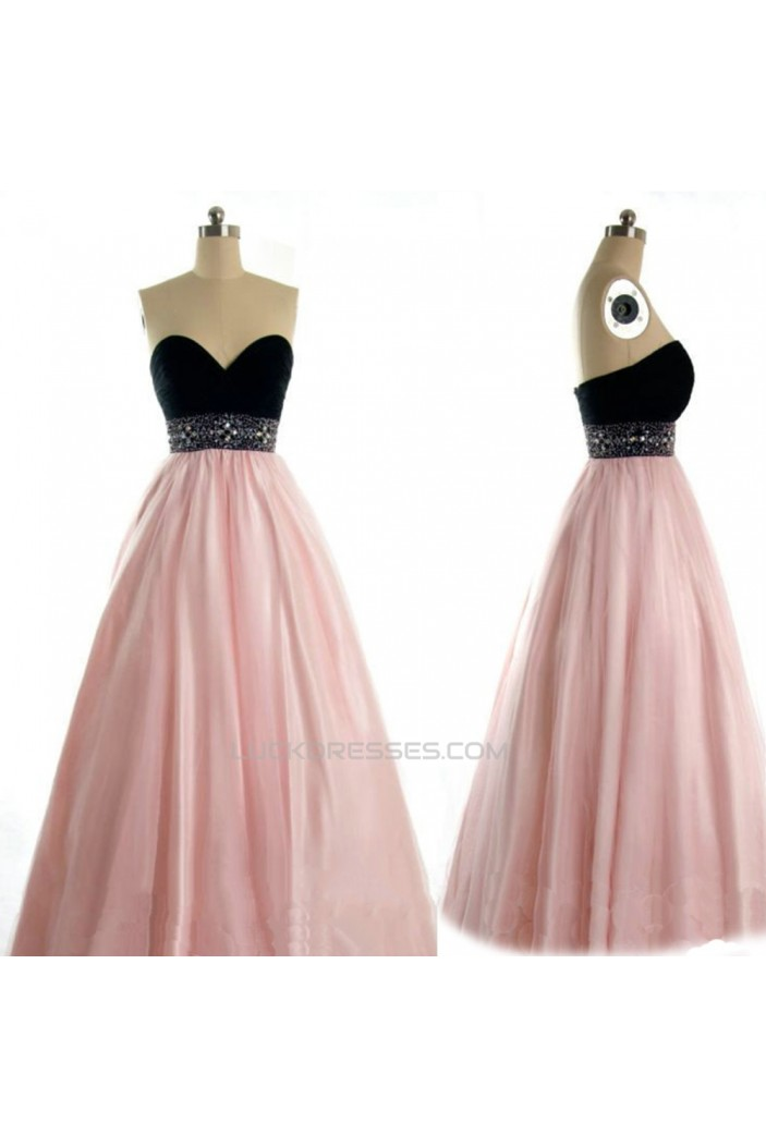 A-Line Sweetheart Black Pink Beaded Long Prom Evening Formal Dresses ED011023