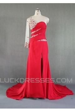Sheath Beaded One Long Sleeve Long Red Chiffon Prom Evening Formal Dresses ED011025