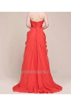 Sheath/Column Sweetheart Beaded Long Chiffon Prom Evening Formal Dresses ED011027