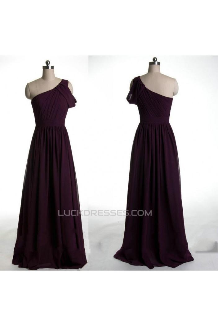 A-Line One-Shoulder Long Chiffon Prom Evening Formal Dresses ED011028