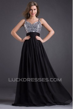 A-Line Beaded Sequins Long Black Chiffon Prom Evening Formal Dresses ED011029