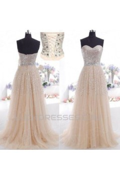 A-Line Sweetheart Beaded Tulle Long Prom Evening Formal Dresses ED011030