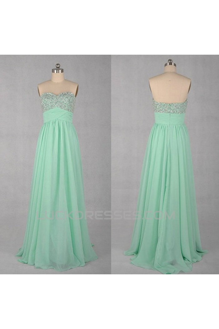 A-Line Sweetheart Beaded Long Chiffon Prom Evening Formal Dresses ED011031