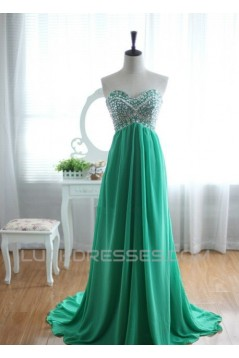 A-Line Sweetheart Beaded Long Green Chiffon Prom Evening Formal Dresses ED011032