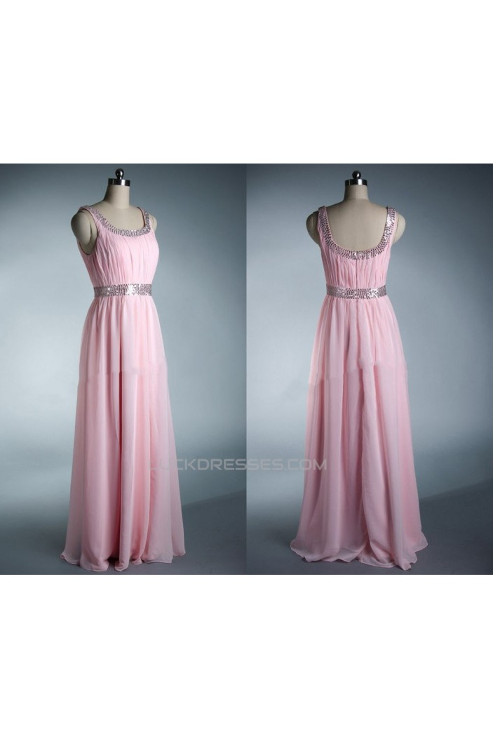 A-Line Beaded Long Pink Chiffon Prom Evening Formal Dresses ED011033