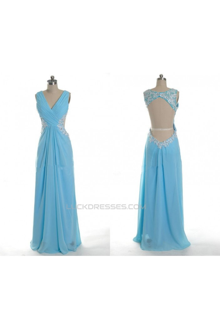 Sheath/Column V-Neck Beaded Applique Long Blue Chiffon Prom Evening Formal Dresses ED011035