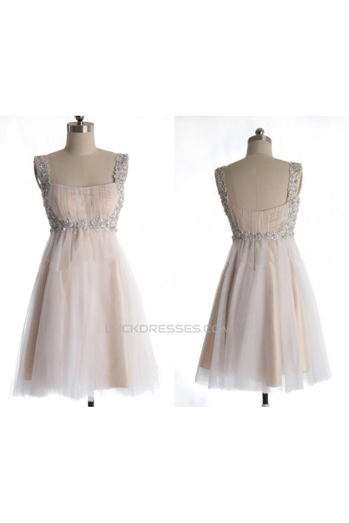 A-Line Beaded Straps Short Prom Evening Formal Dresses ED011036