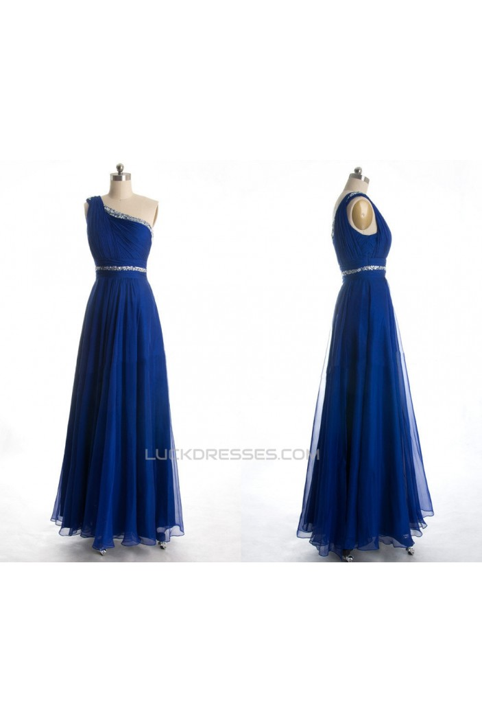 A-Line One-Shoulder Beaded Long Blue Chiffon Prom Evening Formal Dresses ED011038