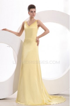A-Line Long Yellow Prom Evening Formal Party Dresses ED010104