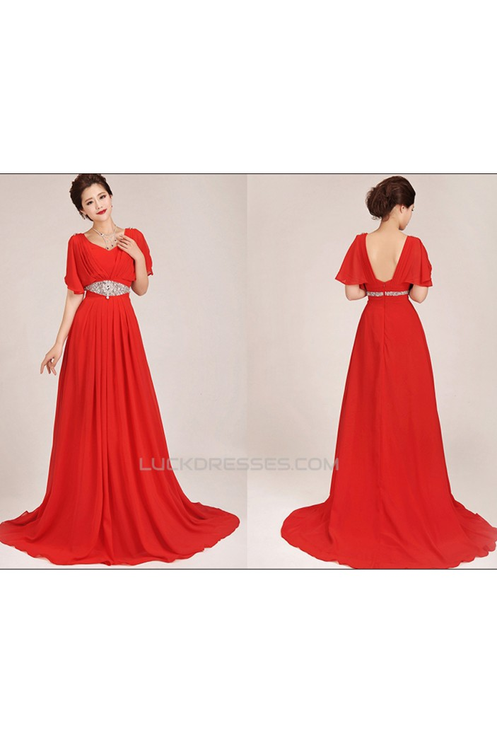A-Line Short Sleeve Beaded Long Red Chiffon Prom Evening Formal Dresses ED011041
