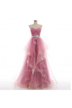 A-Line Sweetheart Beaded Appliques Tulle Long Prom Evening Formal Dresses ED011042