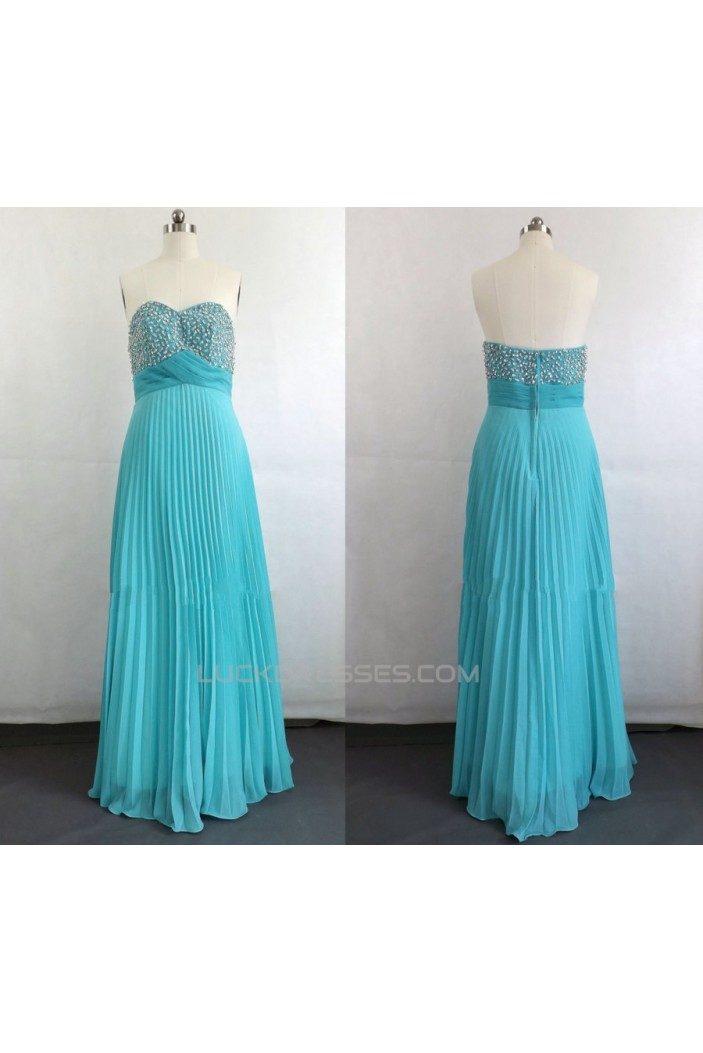 A-Line Sweetheart Pleated Beaded Long Chiffon Prom Evening Plus Size Dresses ED011044