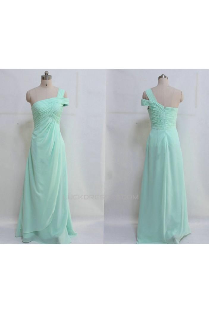 A-Line One-Shoulder Long Chiffon Prom Evening Formal Dresses ED011045