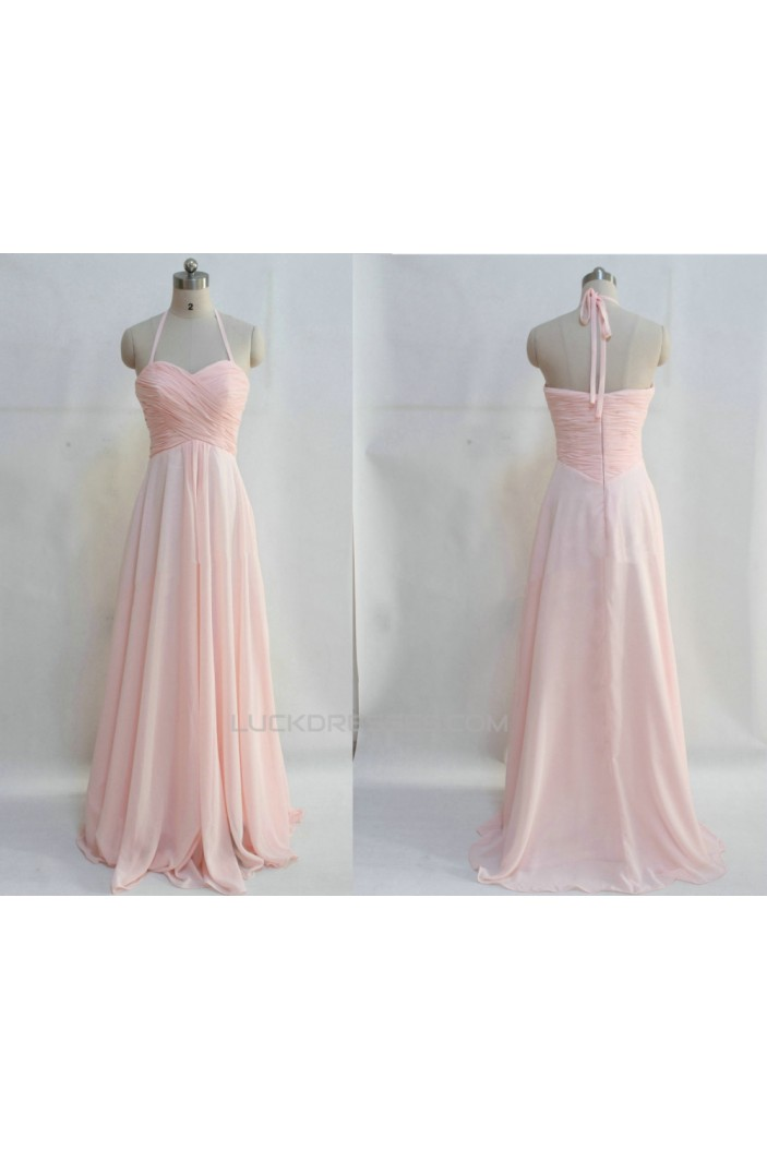 A-Line Halter Long Pink Chiffon Prom Evening Bridesmaid Dresses ED011046