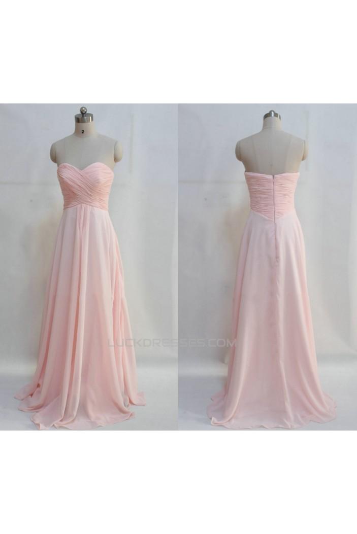 A-Line Sweetheart Long Pink Chiffon Prom Evening Bridesmaid Dresses ED011047