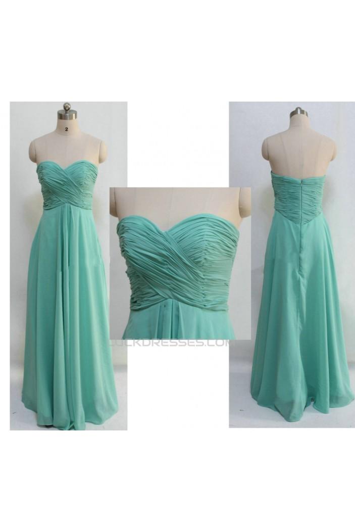 A-Line Sweetheart Long Green Chiffon Prom Evening Bridesmaid Dresses ED011049