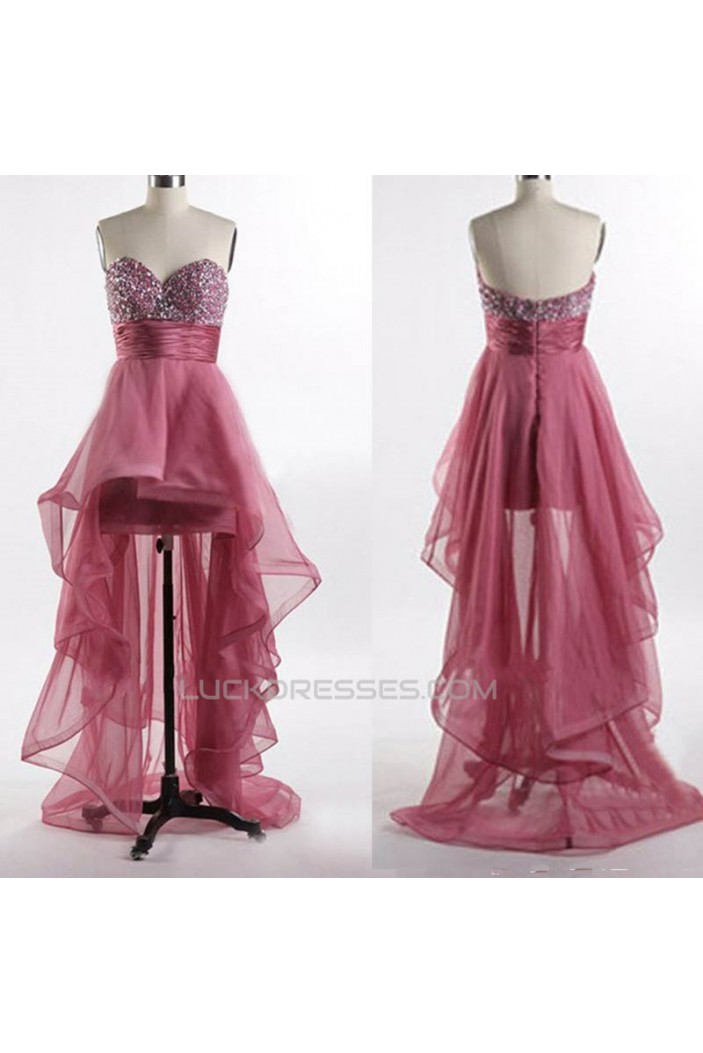 High Low Sweetheart Beaded Prom Evening Formal Dresses ED011050