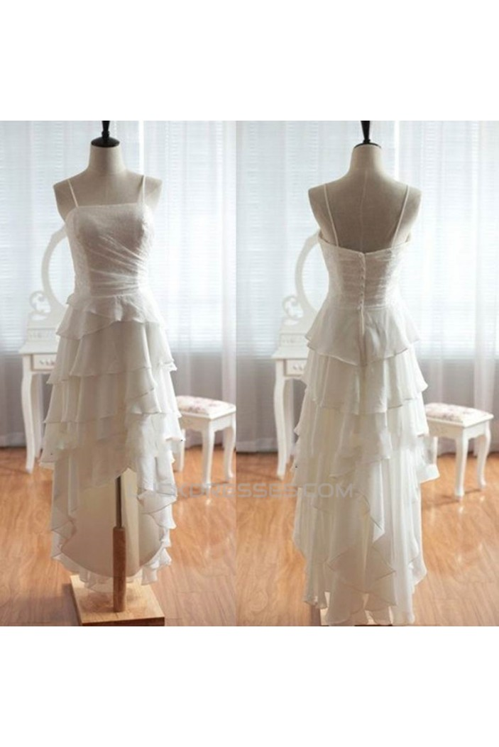 High Low Spaghetti Strap Lace and Chiffon Prom Evening Formal Dresses ED011053