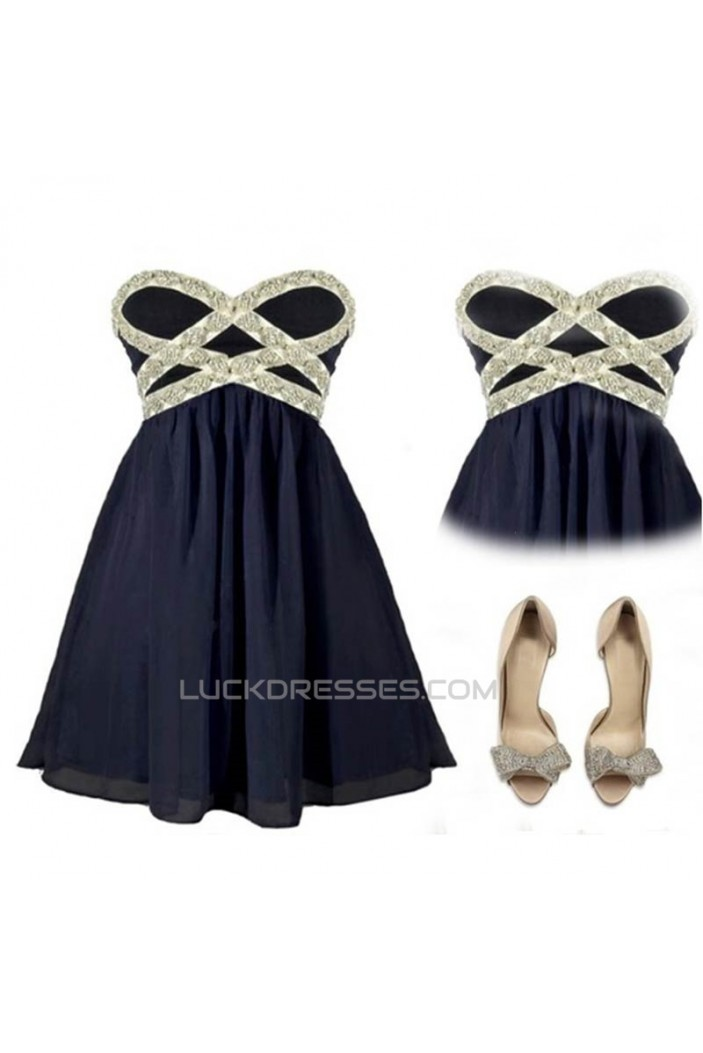 A-Line Sweetheart Beaded Navy Blue Short Chiffon Prom Evening Cocktail Dresses ED011054
