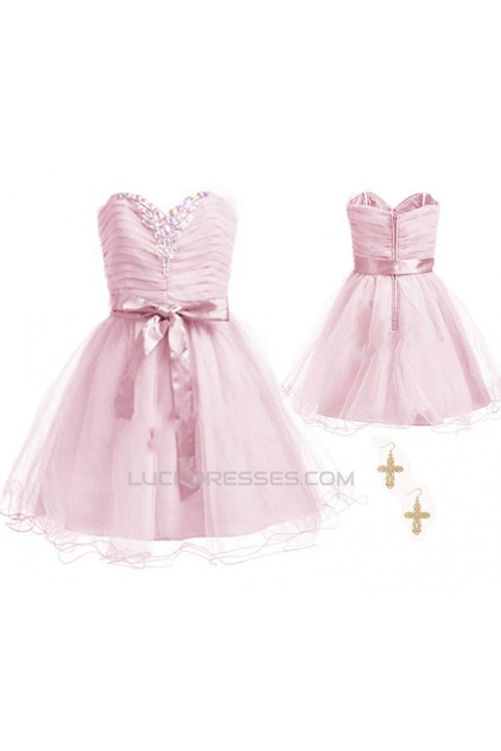 A-Line Sweetheart Beaded Short Pink Chiffon Prom Evening Formal Dresses ED011057