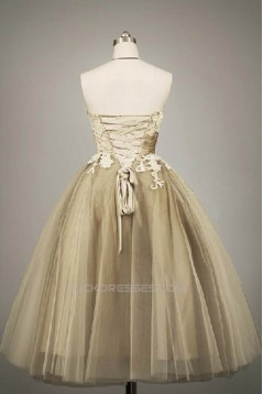 A-Line Strapless Tea Length Tulle Prom Evening Formal Dresses ED011058