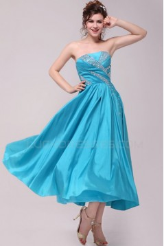 A-Line Strapless Short Blue Beaded Prom Evening Formal Party Dresses ED010106