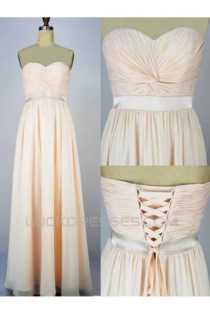 A-Line Sweetheart Long Chiffon Prom Evening Formal Dresses ED011067