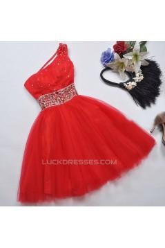 Short/Mini One-Shoulder Beaded Tulle Prom Evening Formal Dresses ED011068
