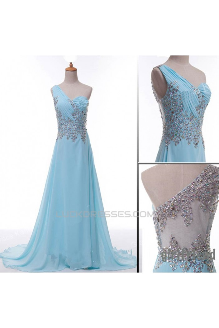 A-Line One-Shoulder Beaded Long Chiffon Prom Evening Formal Dresses ED011071