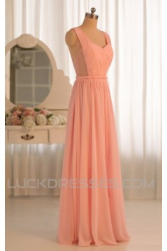 A-Line Long Pink Chiffon Prom Evening Formal Dresses ED011073