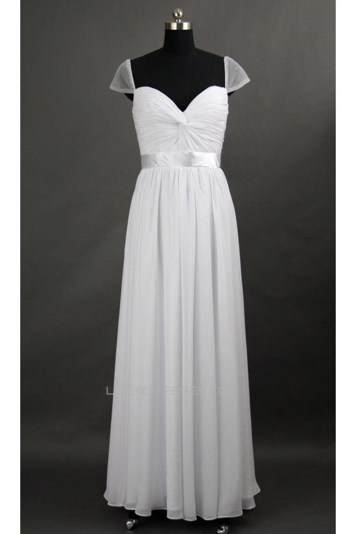 A-Line Cap-Sleeve Long White Chiffon Prom Evening Formal Dresses ED011074