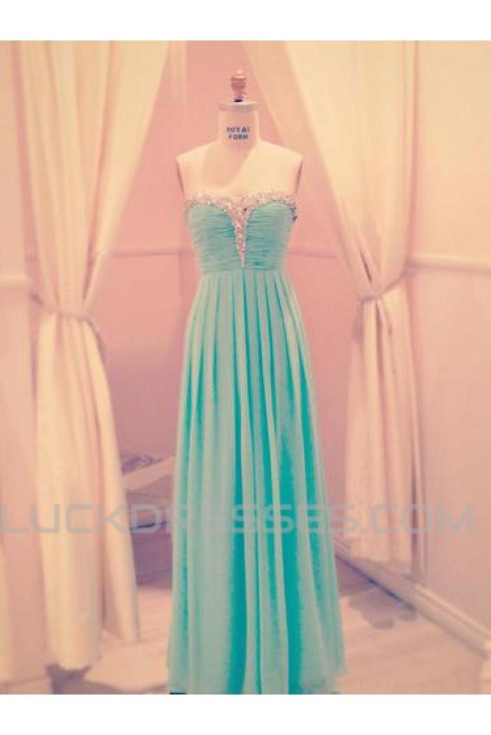 A-Line Beaded Long Chiffon Prom Evening Formal Dresses ED011075