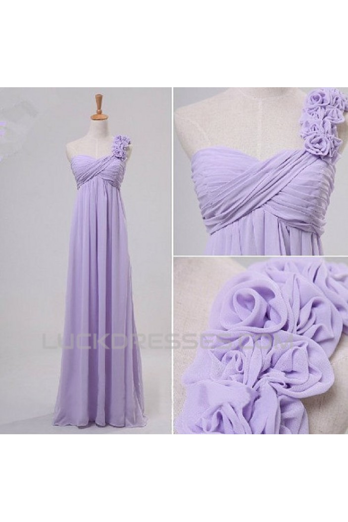 Empire One-Shoulder Long Chiffon Prom Evening Maternity Bridesmaid Dresses ED011076