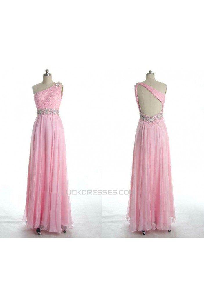 A-Line One-Shoulder Beaded Long Pink Chiffon Prom Evening Formal Dresses ED011077