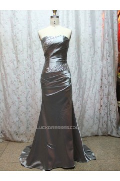 A-Line Strapless Beaded Long Prom Evening Formal Dresses ED011078
