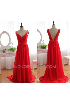 A-Line Long Red Chiffon Prom Evening Formal Dresses ED011079