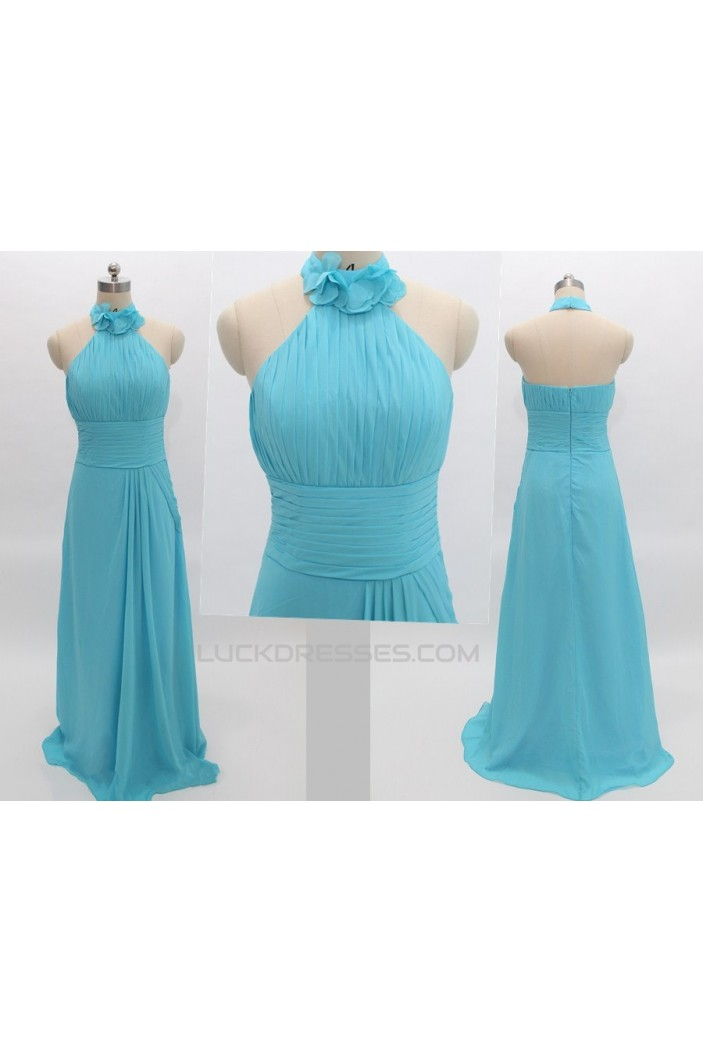 A-Line Halter Long Blue Chiffon Prom Evening Formal Bridesmaid Dresses ED011081