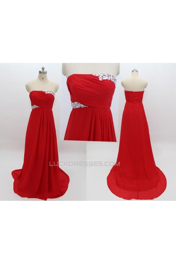Empire Strapless Beaded Long Red Chiffon Prom Evening Maternity Evening Dresses ED011082